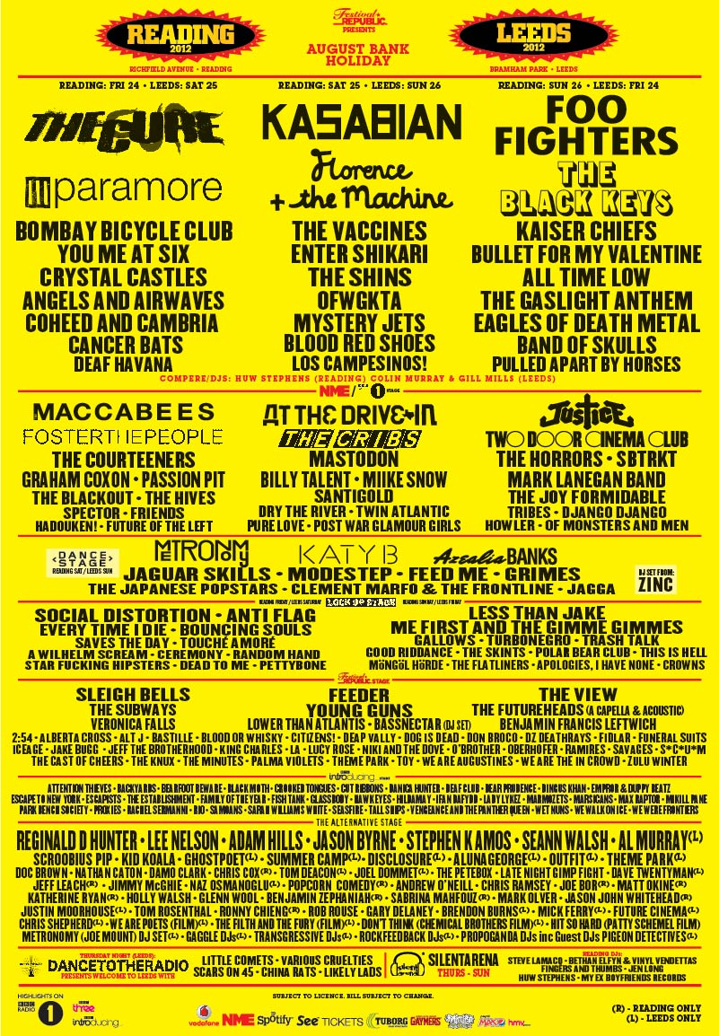 Reading and Leeds 2012