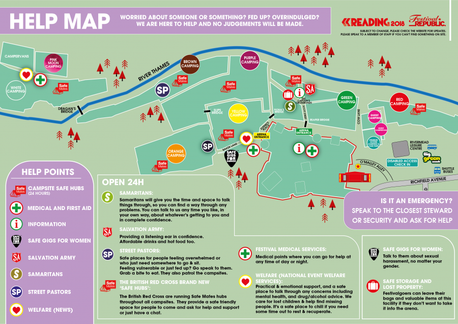 Reading Festival Map Reading Festival | Help Map Reading Festival Map